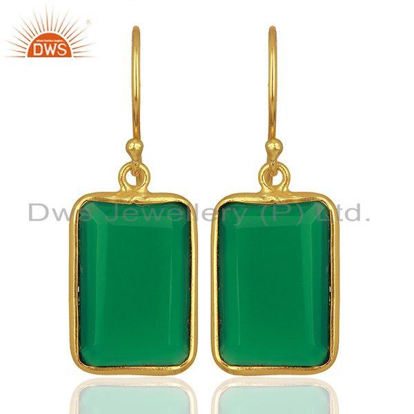 Natural Green Onyx Gemstone Gold Plated 925 Silver Earrings Supplier
