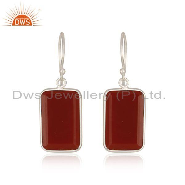 Red Onyx Gemstone Fine Sterling Silver Handmade Earring Supplier