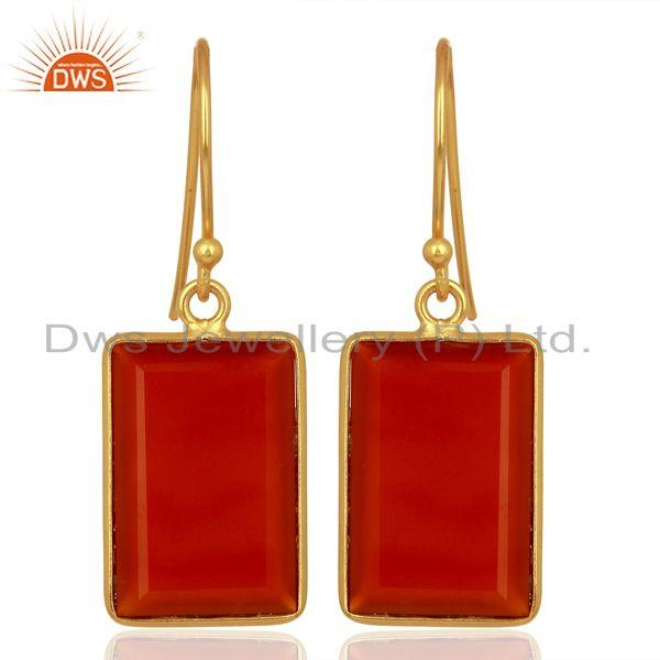 Red Onyx Handcrafted Artisan Gold Plated Drop Wholesale Jewelry