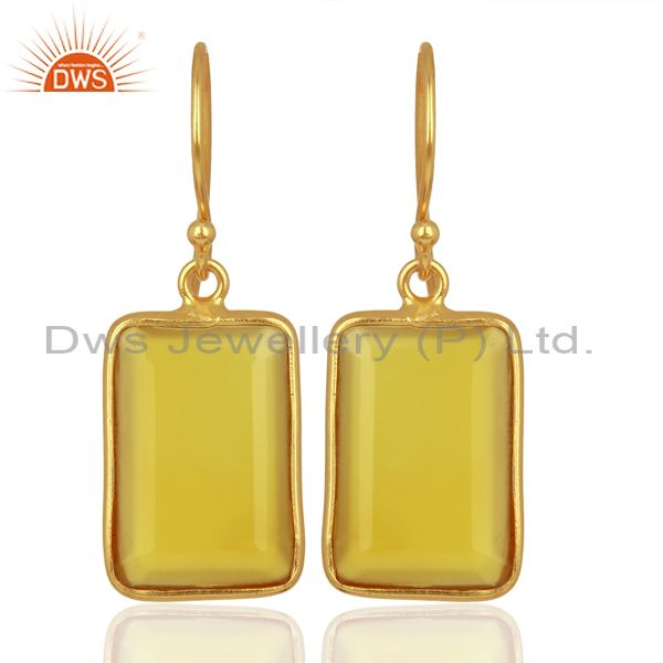 Yellow Chalcedony Handcrafted Artisan Gold Plated Drop Wholesale Jewelry