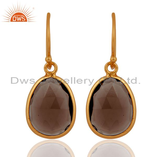 Faceted Smoky Quartz Plated Gold Sterling Silver Latching Earrings Gift Jewelry