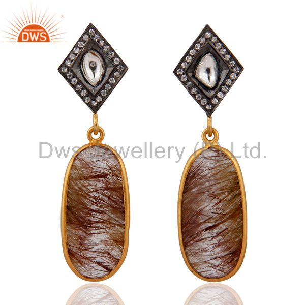 925 Sterling SIlver Rutile Quartz Gemstone Gold Plated CZ Fashion Dangle Earring
