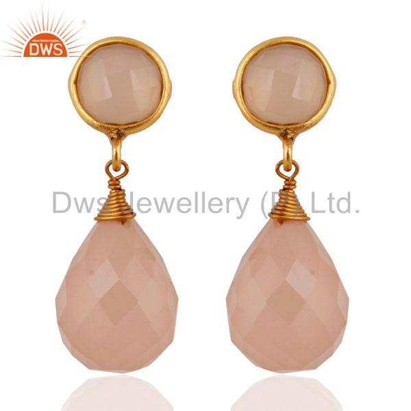 24k Gold Plated Faceted Rose Chalcedony Drop Gemstone Sterling Silver Earrings