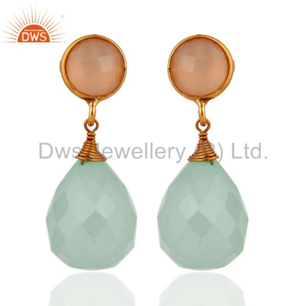 Gold Plated Sterling Silver Aqua Chalcedony Faceted Briolette Dangle Earrings