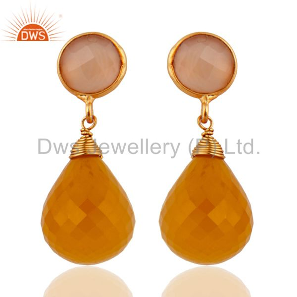 Gold Plated Yellow Chalcedony Sterling Silver Gemstone Briolette Dangle Earring