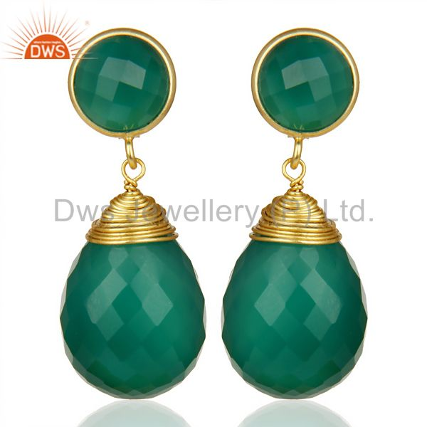 Faceted Gemstone Green Onyx Briolette Gold Plated Sterling Silver Drop Earrings