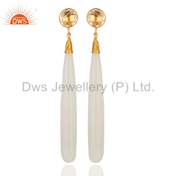 18k Gold Plated Sterling Silver Natural Crystal Quartz Teardrop Dangle Earrings