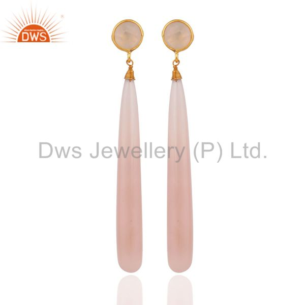 Gold Plated Sterling Silver Polished Gemstone Chalcedony Drop Dangle Earrings