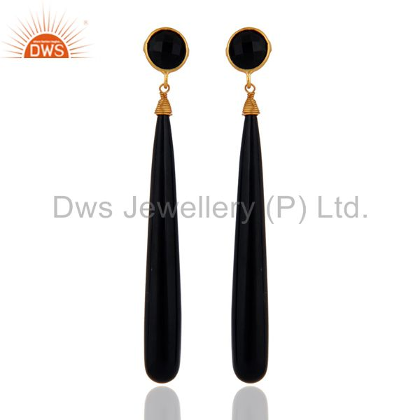 Handmade Natural Black Onyx Tear Drop 925 Sterling Silver Gold Plated Earrings