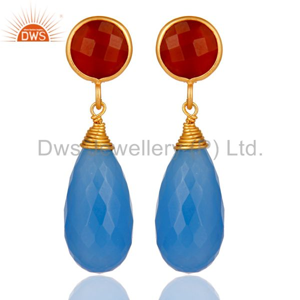 18k Gold Over Sterling Silver Blue Chalcedony And Red Coral Teardrop Earrings