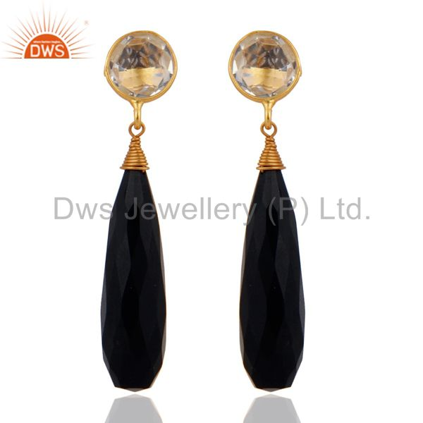 Black Onyx Teardrop Faceted Crystal Earrings in 18k Gold On 925 Sterling Silver
