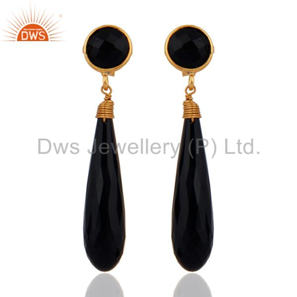 Natural Gemstone Black Onyx Faceted Sterling Silver Gold Plated Teardrop Earring