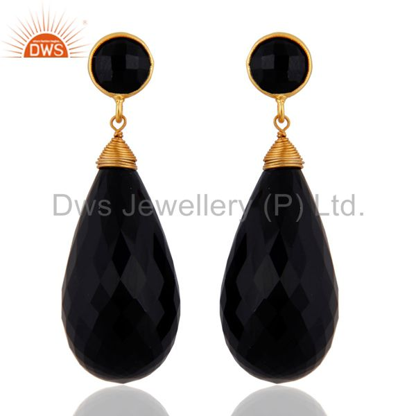 18k Gold Over 925 Sterling Silver Black Onyx Faceted Briolette Dangle Earrings