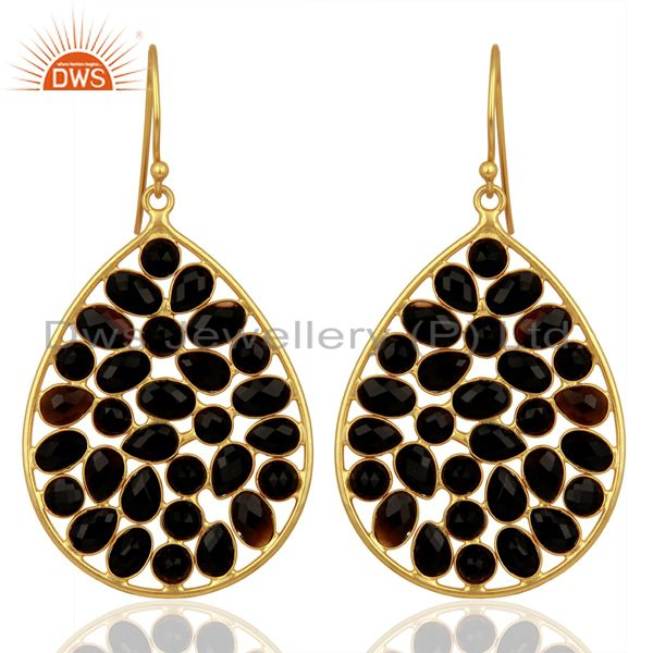 14K Yellow Gold Plated Sterling Silver Black Onyx Designer Drop Earrings