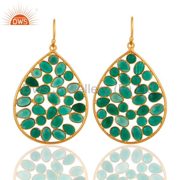 Handmade 925 Sterling Silver Designer Gold Plated Green Onyx Gemstone Earrings