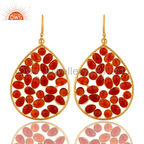 14K Yellow Gold Plated Sterling Silver Red Onyx Designer Drop Dangle Earrings