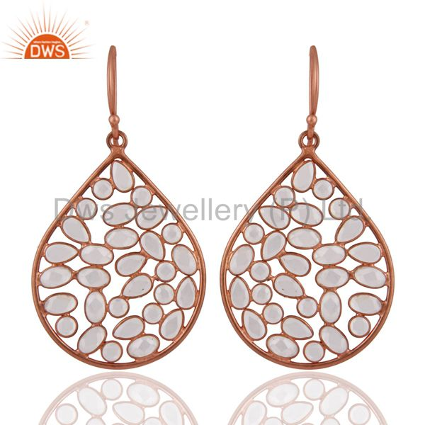 18K Rose Gold Plated Sterling Silver White Cubic Zirconia Fashion Dangle Earring