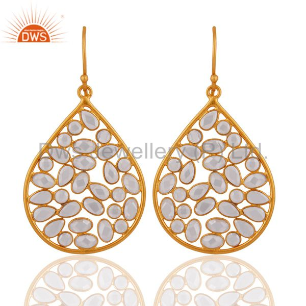 18K Yellow Gold Plated Sterling Silver Cubic Zirconia Fashion Dangle Earrings