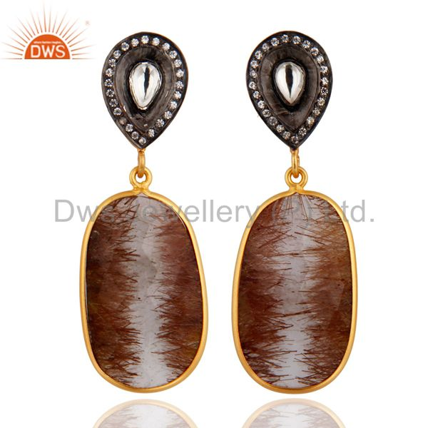Natural Golden Rutile Quartz Designer Earrings In 18k Gold Over Sterling Silver