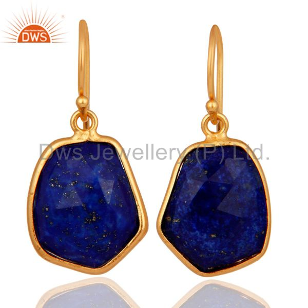 925 Sterlinng Silver Natural Lapis Lazuli Earring With Gold Plated Jewelry