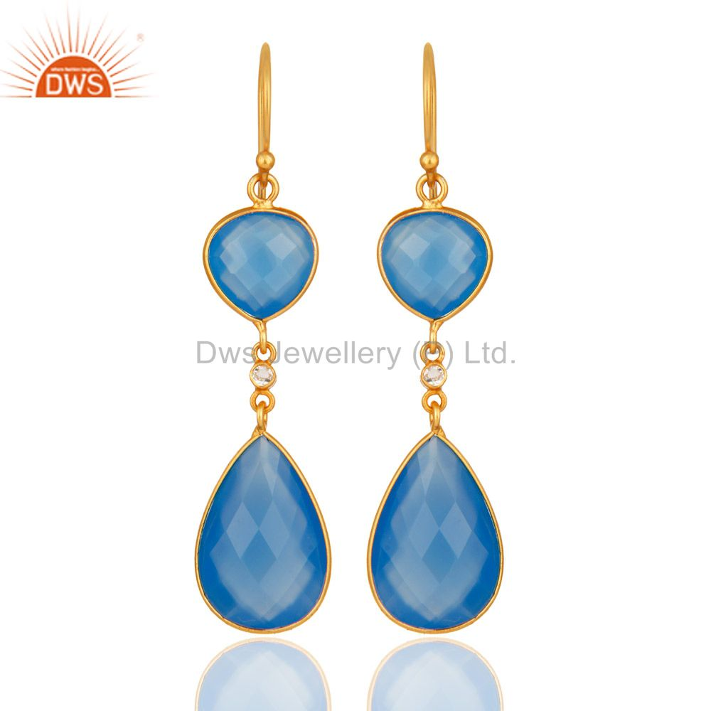Faceted Blue Chalcedony Gemstone 925 Sterling Silver Earrings With Gold Plated