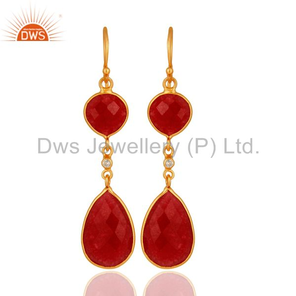 22K Gold Plated Sterling Silver Handmade Red Aventurine Bezel Dangle Earrings