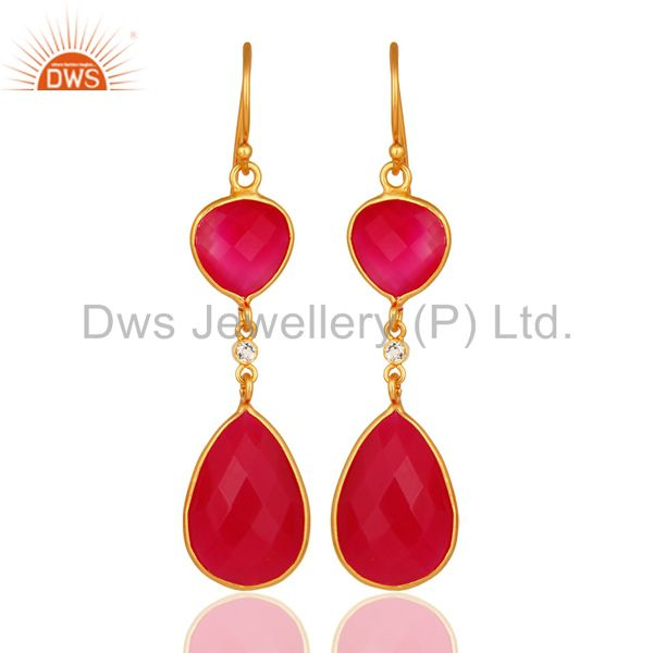 Pink Chalcedony Faceted Bezel-Set Gold Plated Sterling Silver Drop Earrings