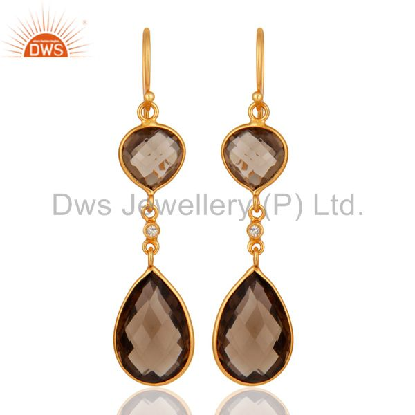 18K Gold Plated Sterling Silver Smoky Quartz  Bezel Set Earrings With Topaz