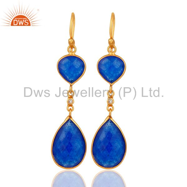 Gold Plated Sterling Silver Blue Aventurine Gemstone Teardrop Bezel Set Earrings