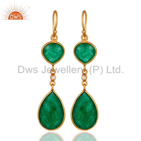 18K Yellow Gold Plated Sterling Silver Green Aventurine Double Drop Earrings