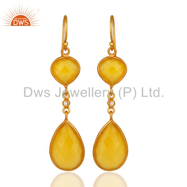 18K Gold Plated Sterling Silver Yellow Moonstone Double Drop Dangle Earrings