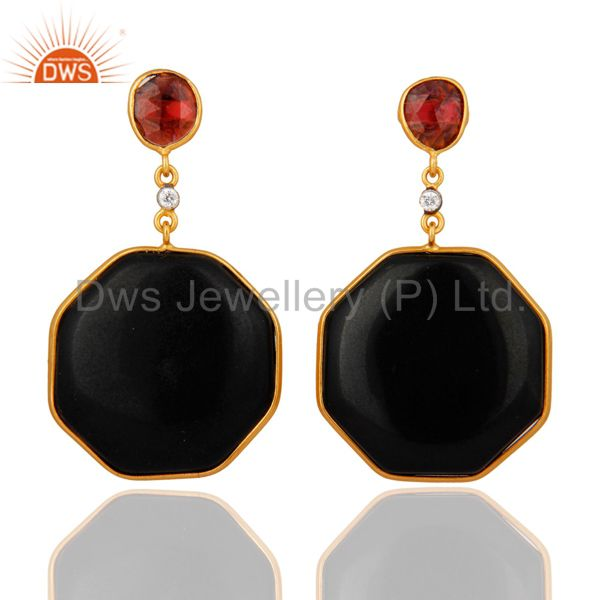 18 K Gold Over 925 Sterling Silver Hexagon Black Onyx Dangle Earrings