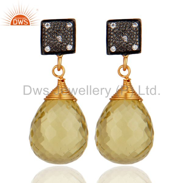 Natural Lemon Topaz 925 Sterling Silver & Gold Plated Dangle/Drop Earrings