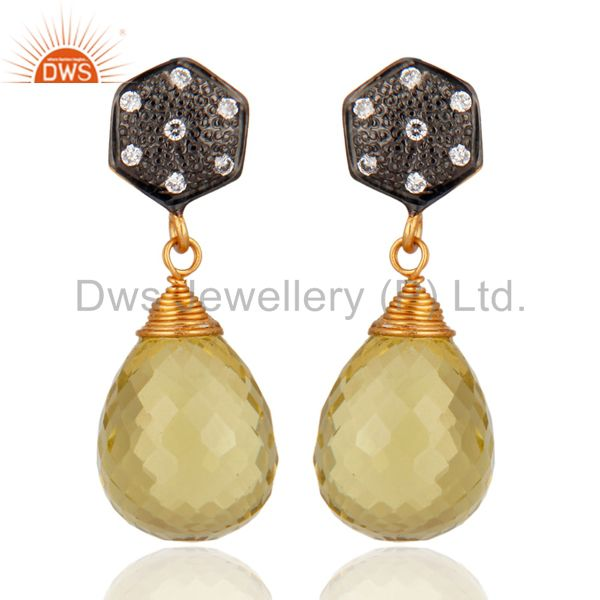 925 Sterling Silver Lemon Topaz Faceted Drop Dangle Post Earrings