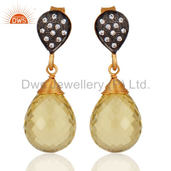 Genuine Lemon Topaz Gemstone Briolette Drop Earrings in 925 Sterling Silver Jewe