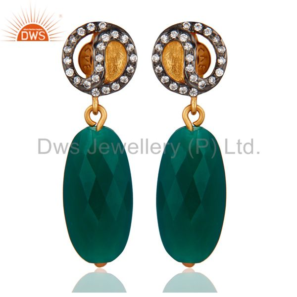 Natural Green Onyx Faceted Drop Dangle 925 Sterling Silver Earrings