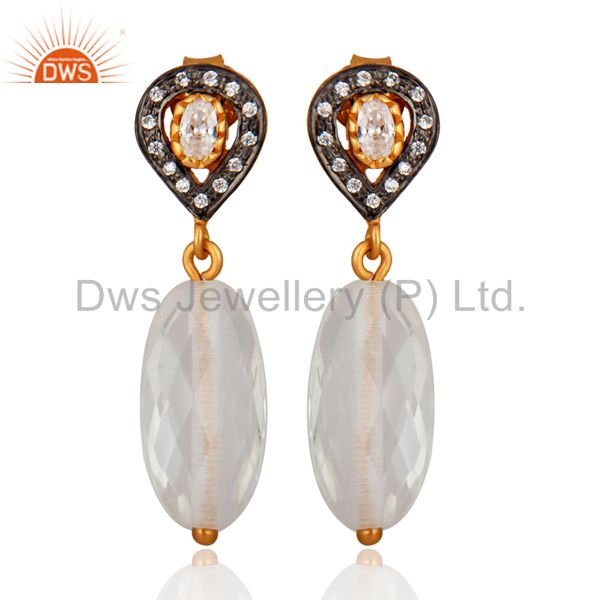 Stunning Cubic Zirconia 925 Sterling Silver Crystal 18K Gold Plated Drop Earring
