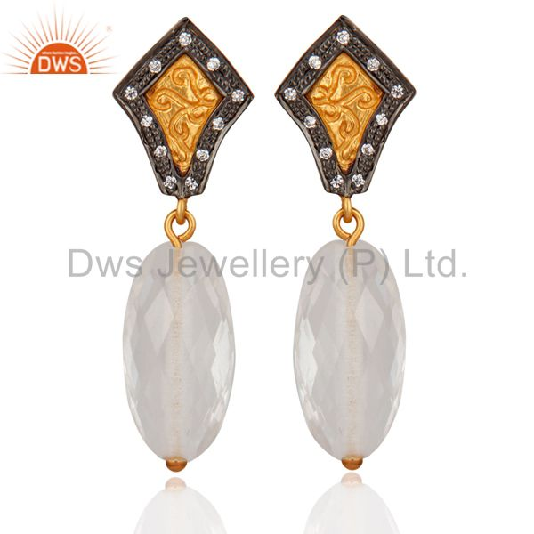 Gold Plated 925 Sterling Silver Crystal Quartz & White Zircon Fashion Women Earr