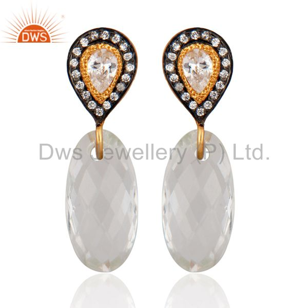 Crystal Quartz Checker Cut 925 Sterling Silver Gold Plated CZ Ladies Earrings