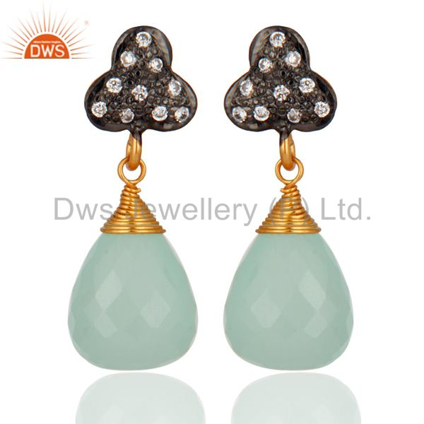 Natural Chalcedony Gemstone 925 Sterling Silver Drop Dangle Earrings With White