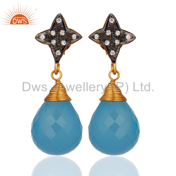 Gold Plated 925 Sterling Silver Genuine Aqua Blue Chalcedony Earrings