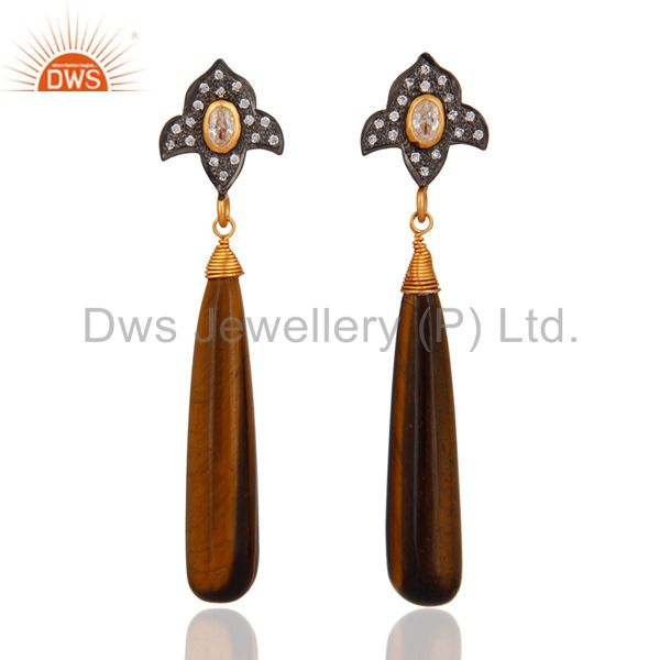 Tiger Eye Smooth Pencil Gemstone 925 Sterling Silver Stunning CZ Drop Earrings