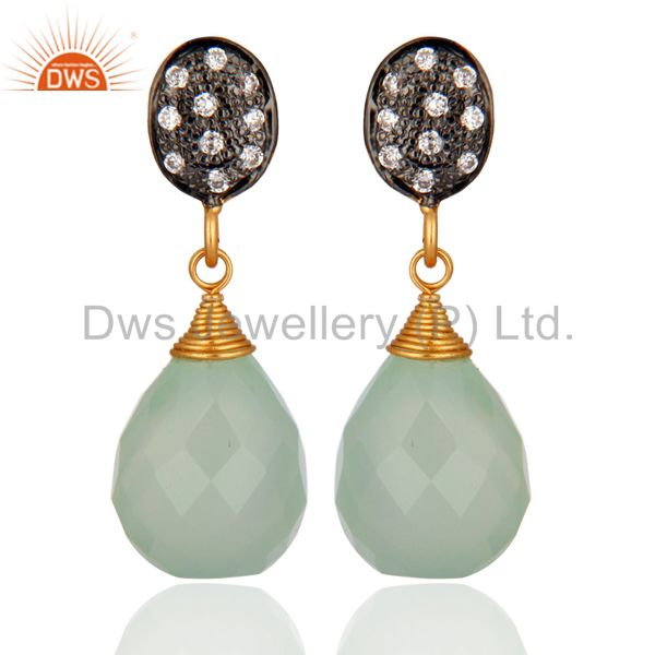 Natural Chalcedony Gemstone Earrings Made In 925 Sterling Silver Jewelry