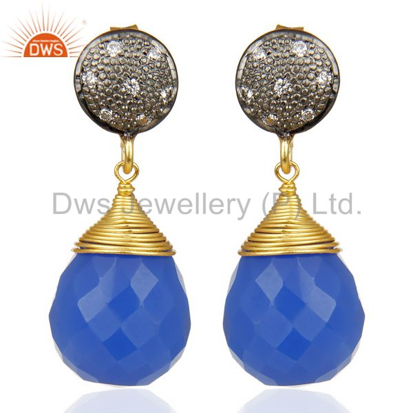 18K Gold Plated 925 Sterling Silver Dyed Blue Chalcedony CZ Drops Earrings