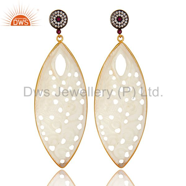 18K Yellow Gold Plated Sterling Silver Carved Mother Of Pearl Dangle Earrings