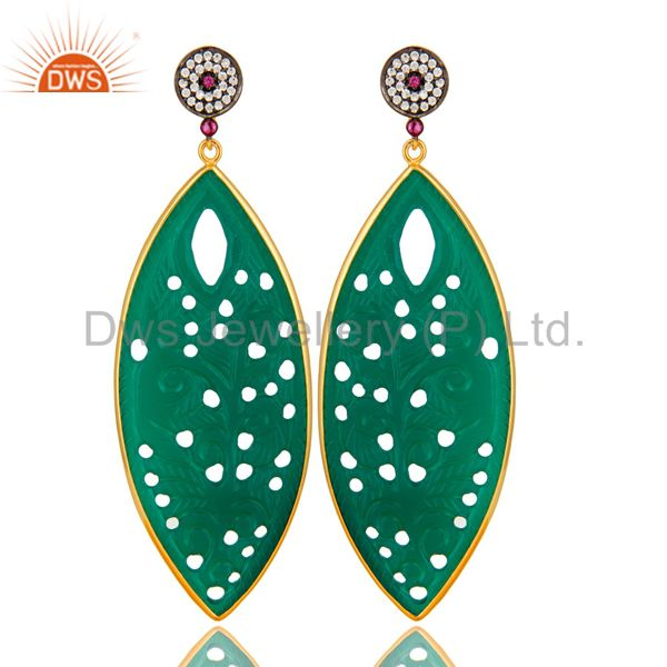 14K Yellow Gold Plated Sterling Silver Carved Green Onyx Dangle Earrings With CZ