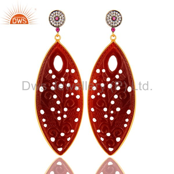 18K Gold On Silver CZ And Red Onyx Gemstone Carving Bezel Set Dangle Earrings