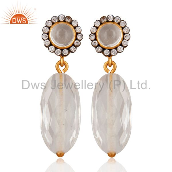 Handmade 925 Sterling Silver Crystal Quartz Earring With Gold Plated