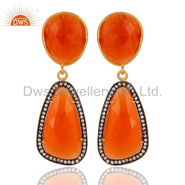 Designer Red Onyx 925 Sterling Silver Gold Plated Women Fashion Dangle Earrings