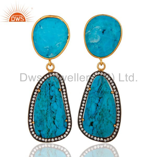 18K Gold Plated Solid Sterling Silver Turquoise & White Zircon Beautiful Earring